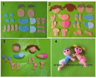 Tutorial membuat boneka bayi lucu dari bahan kain flanel