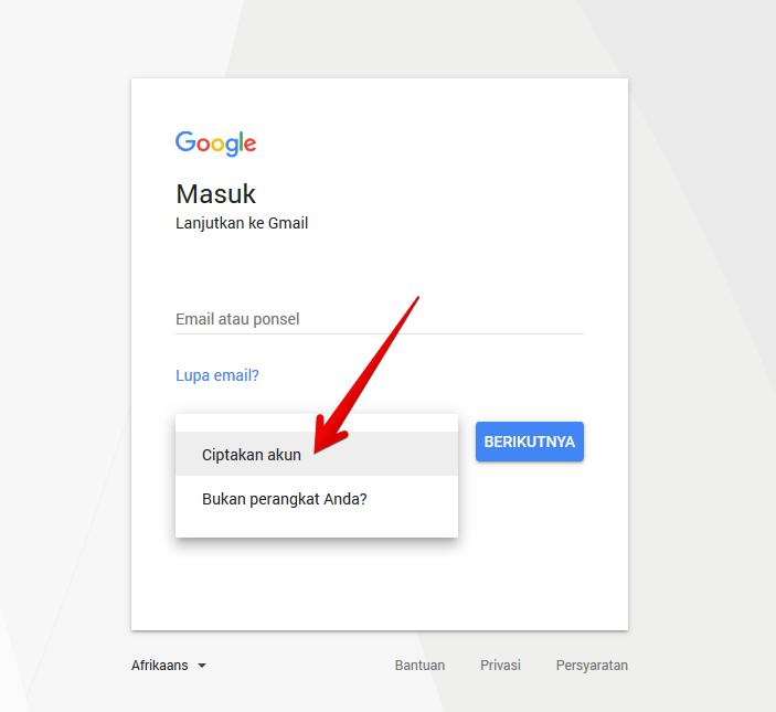 Daftar akun baru gmail