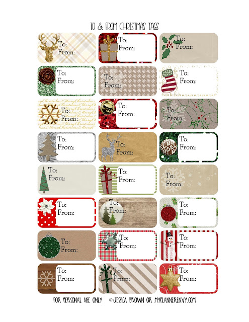 To & From Christmas Gift Tags from myplannerenvy.com