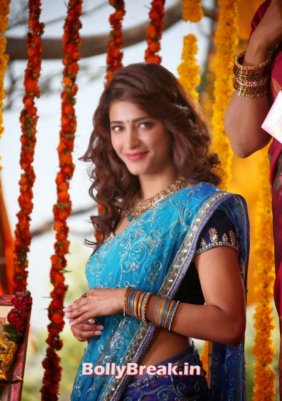 Shruti Haasan In Blue Saree Film Actress Hot S