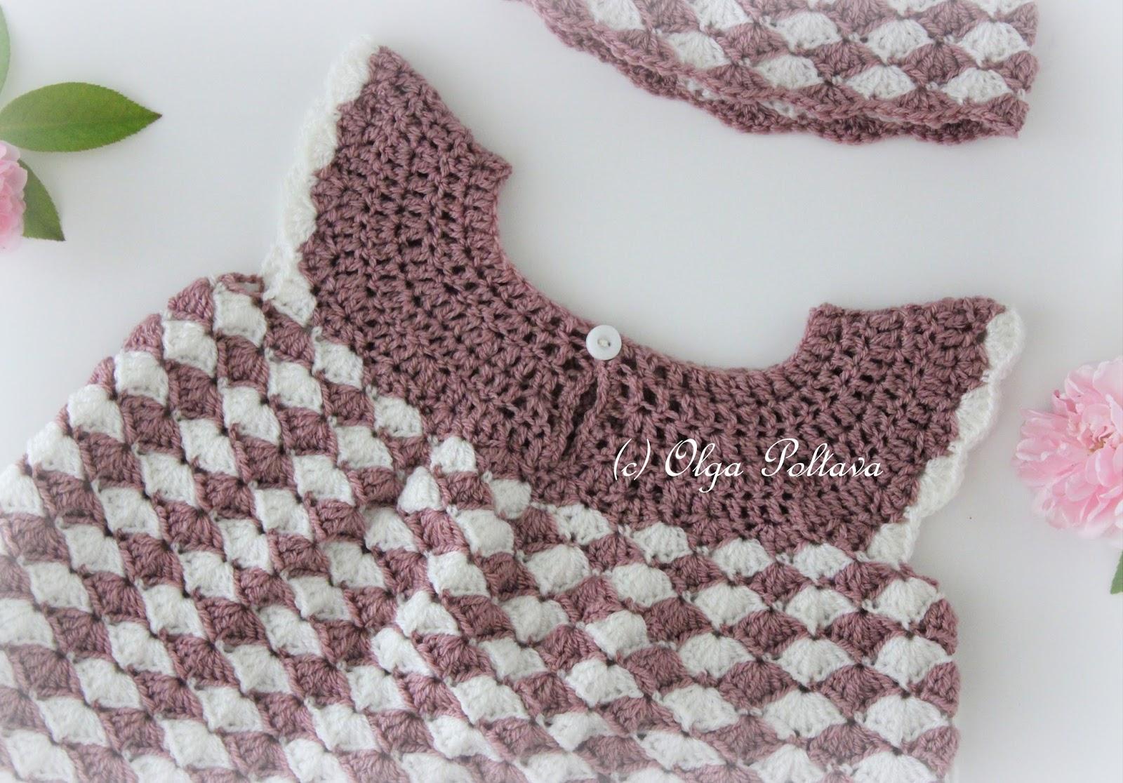 Lacy Crochet Shells Newborn Dress Free Crochet Pattern