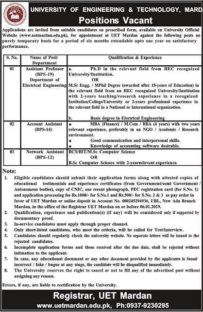 Jobs Vacancies In University Of Engineering And Technology Mardan 25 Dec 2018