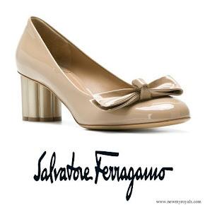Queen Maxima wore SALVATORE FERRAGAMO Flower Heel Pumps