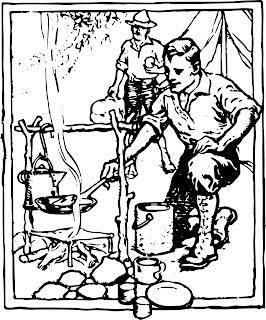 piirros miehistä leirillä