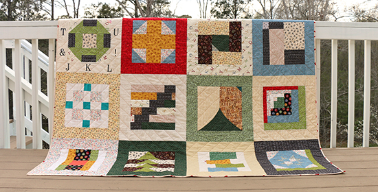 Bottom of Quilt made from Alphabet Themed Fabric
