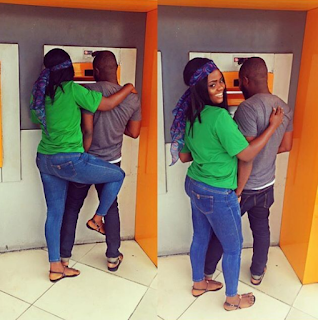 Hilarious photos of Nigerian ladies 'guarding' their men at the ATM stand
