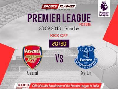 Arsenal vs Everton Live stream EPL 23.9.2018