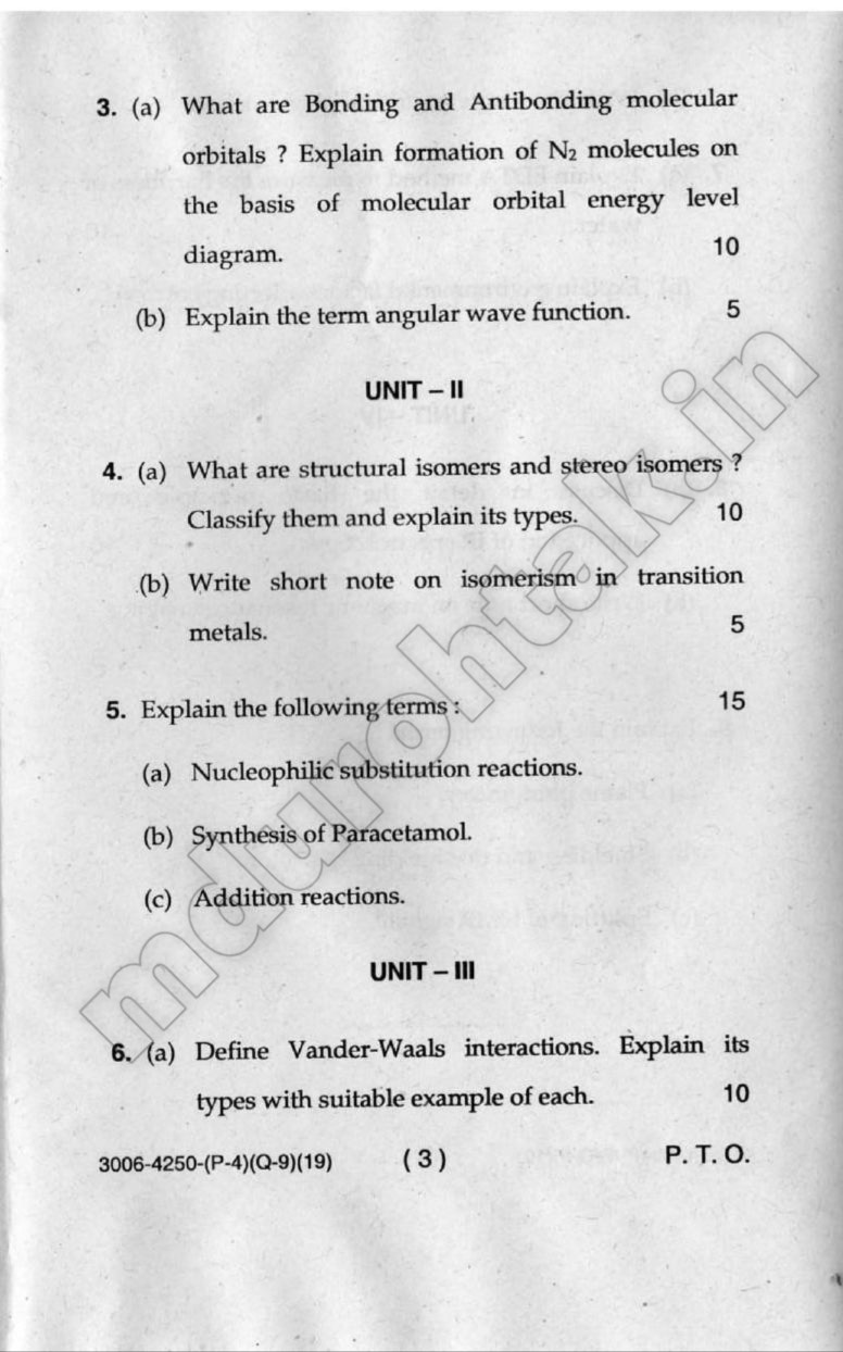 Download Chemistry-I Question Paper - B.Tech 1st Year - December 2019