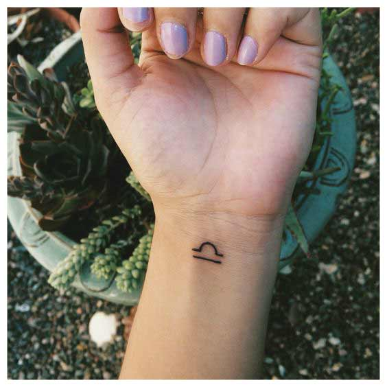 best libra tattoos on wrist for girls