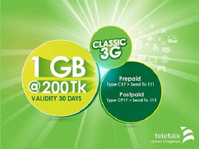 Teletalk Classic 3G Pack Offer