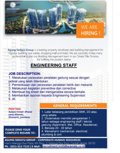 Lowongan kerja Engineering PT Agung Sedayu Group