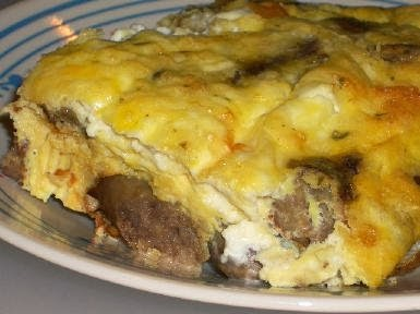 Original photo Sausage, Mushrooms, and Feta Baked with Eggs found on KalynsKitchen.com