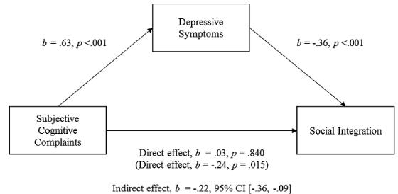 図:媒介分析 脳卒中の主観的認知機能不満と社会参加