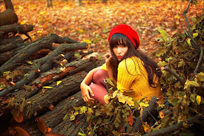 Warm picture of a girl in autumn leaves.