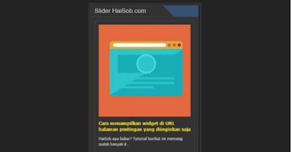 Slider Otomatis artikel terbaru di Sidebar Blogspot