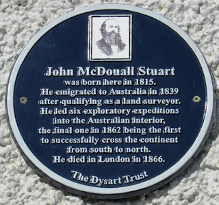 John McDouall Stuart's memorial plaque on one wall of his birthplace
