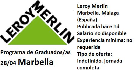 Lanzadera de Empleo Málaga, Oferta Leroy Merlin Marbella