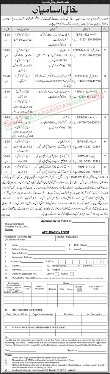 Jobs in Lahore, Federal Govt Department Jobs 2019 Feb | Application form