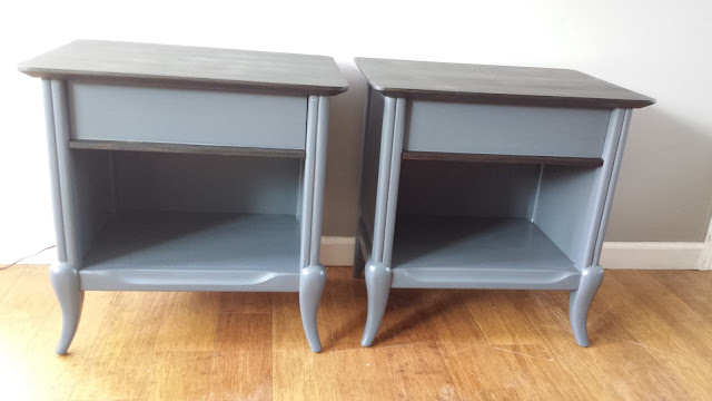 Mid Century Modern Nightstands Makeover Gray and ebony stain
