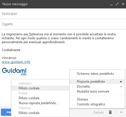 Gmail rispondere alla email con risposta predefinita