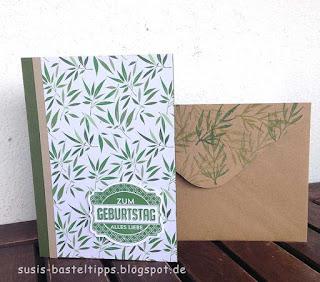 schnelle Karte mit Designerpapier von stampin up demonstratorin in coburg gartengrün, tropen blätter