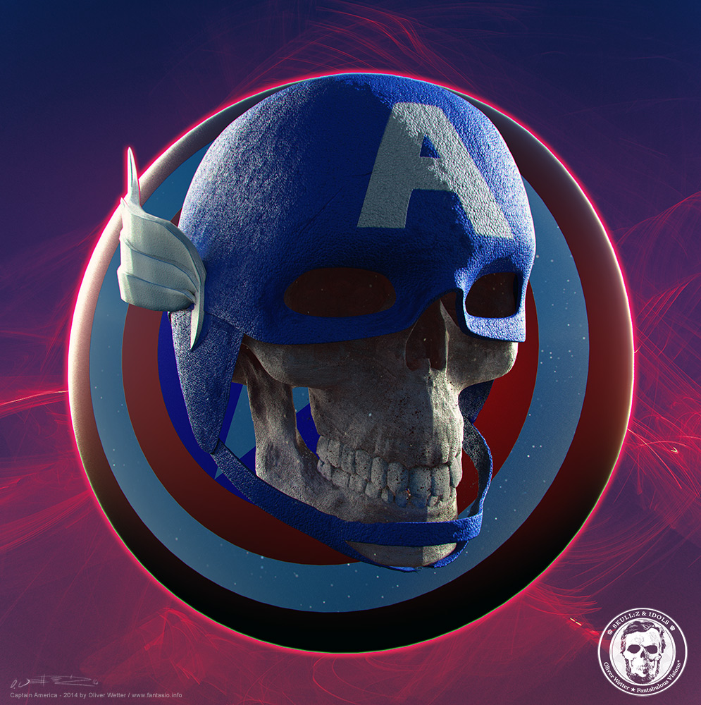 Skull portrait of Captain America