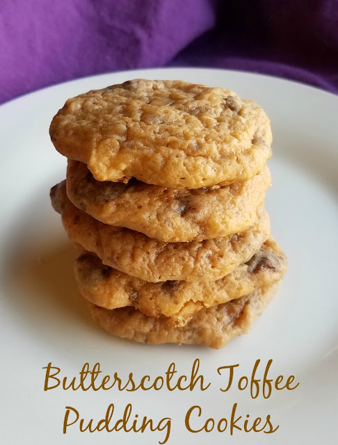 Soft and buttery cookies that are loaded with butterscotch and toffee.  Grab your glass of milk and a plate of these super soft pudding filled cookies for a deliciously sweet treat.