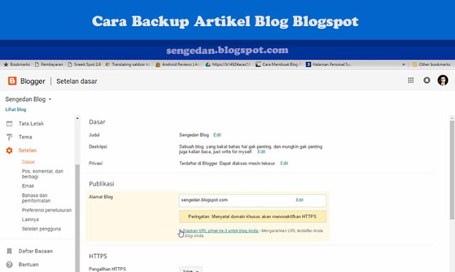Cara Backup Artikel Blog Blogspot