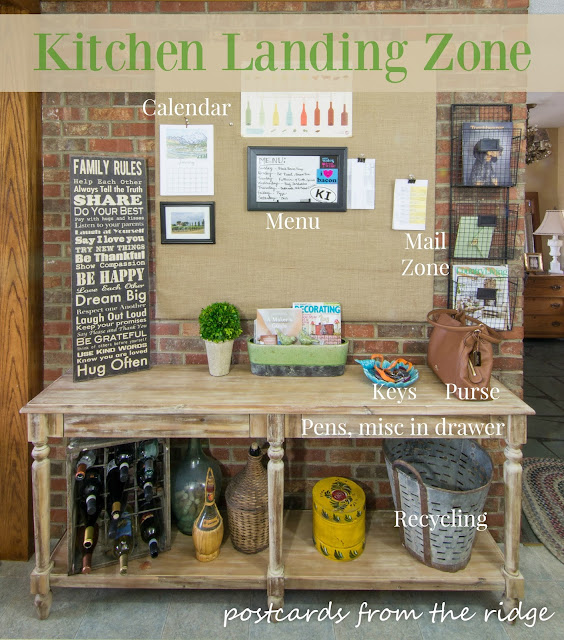 Kitchen landing zone plus many more ideas for kitchen organization.