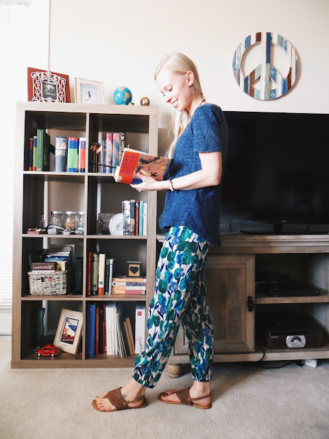 Minted Magpie mala beads, MudLOVE be still band, Song Yee Designs turquoise berry ring, floral joggers, casual outfit, spring outfit