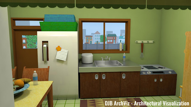 Chibi Maruko-chan's house kitchen
