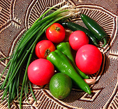 Basket of Tomatoes, Carmen mild chilis, jalapenos, green onions, and lime