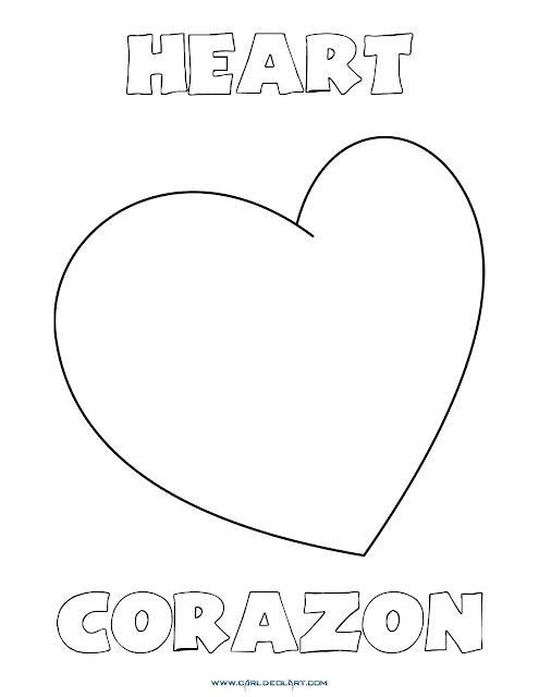 Dibujos Inglés Español Con C Corazón Heart Dibujospacolorear