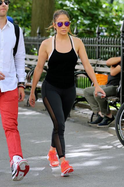Jennifer Lopez in Spandex – Walks to the Gym in New York City