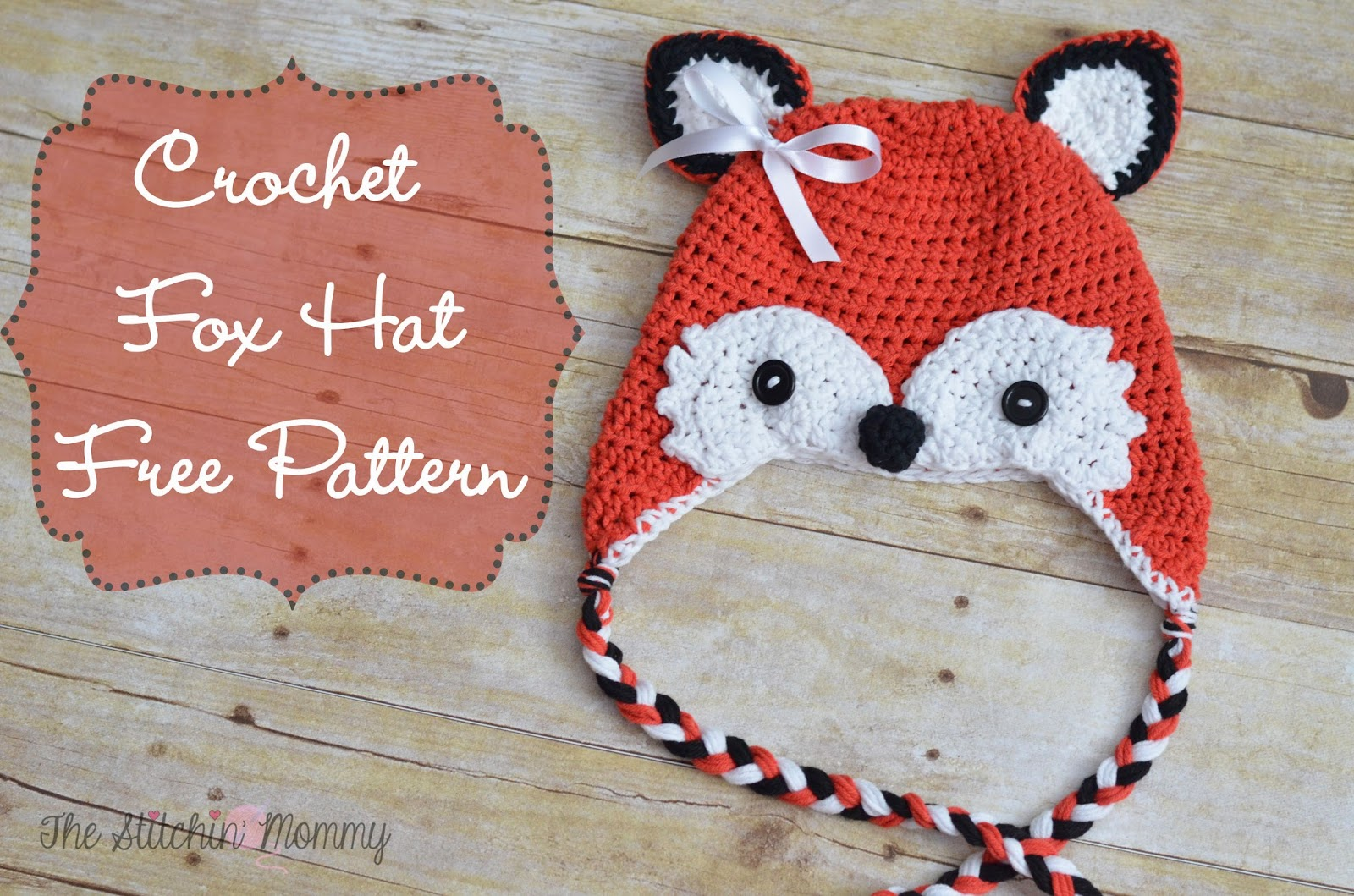 fox hat free crochet pattern image