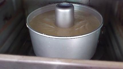 banana chiffon cake baking in oven