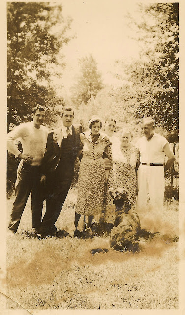 Members of Thomas Payne, Senior's family, at his farm in Massachusetts. c. mid-1930's. Collection of E. Ackermann, 2017.