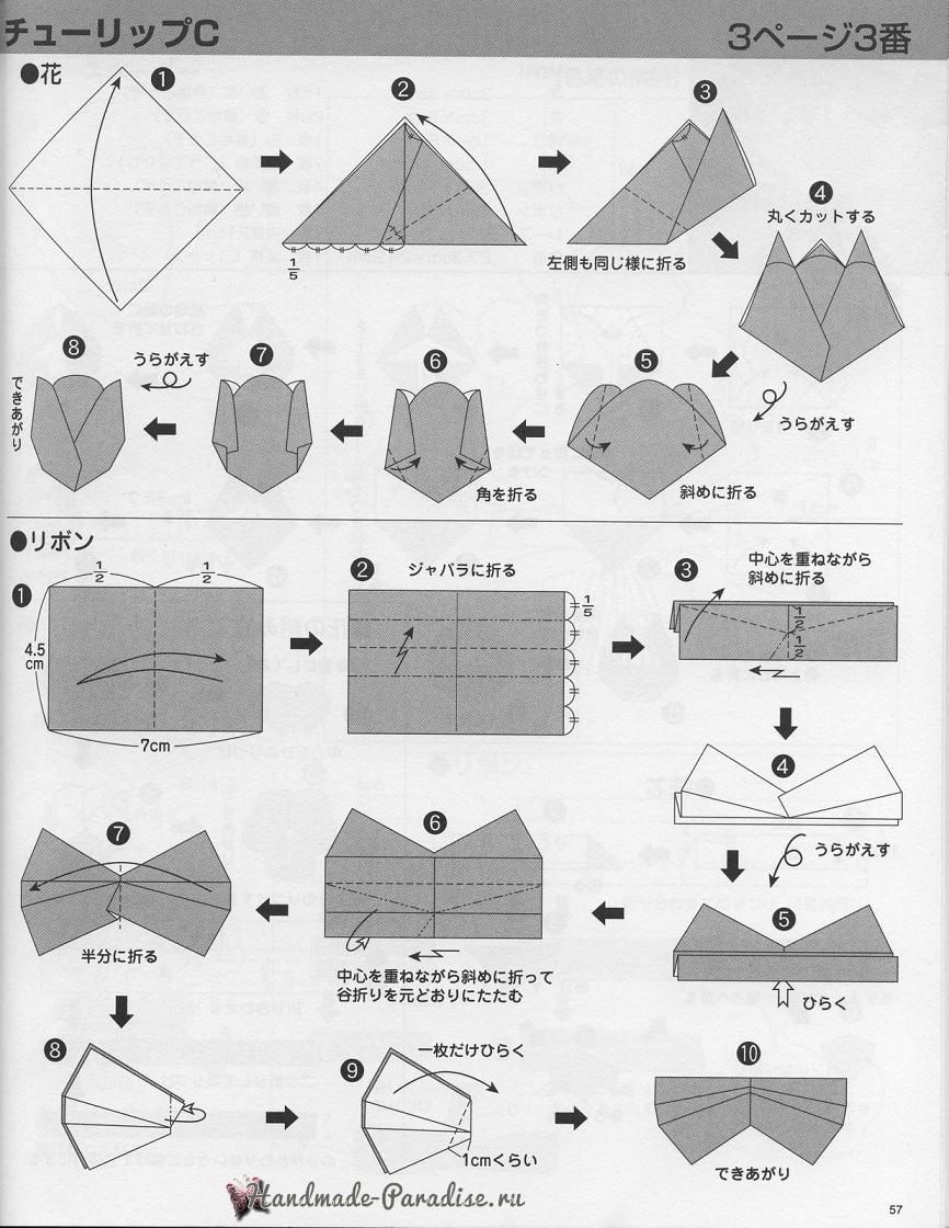 Тюльпаны из бумаги в технике оригами (7)