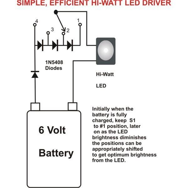 driving 1 watt led with a 6V battery
