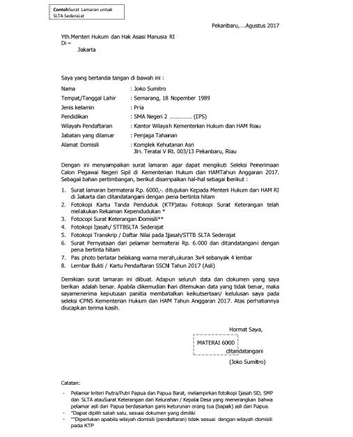 Inilah Contoh Surat Lamaran Penjaga Tahanan Sipir Cpns Kementerian Hukum Dan Ham Rekrutmen Lowongan Kerja Bulan Januari 2021