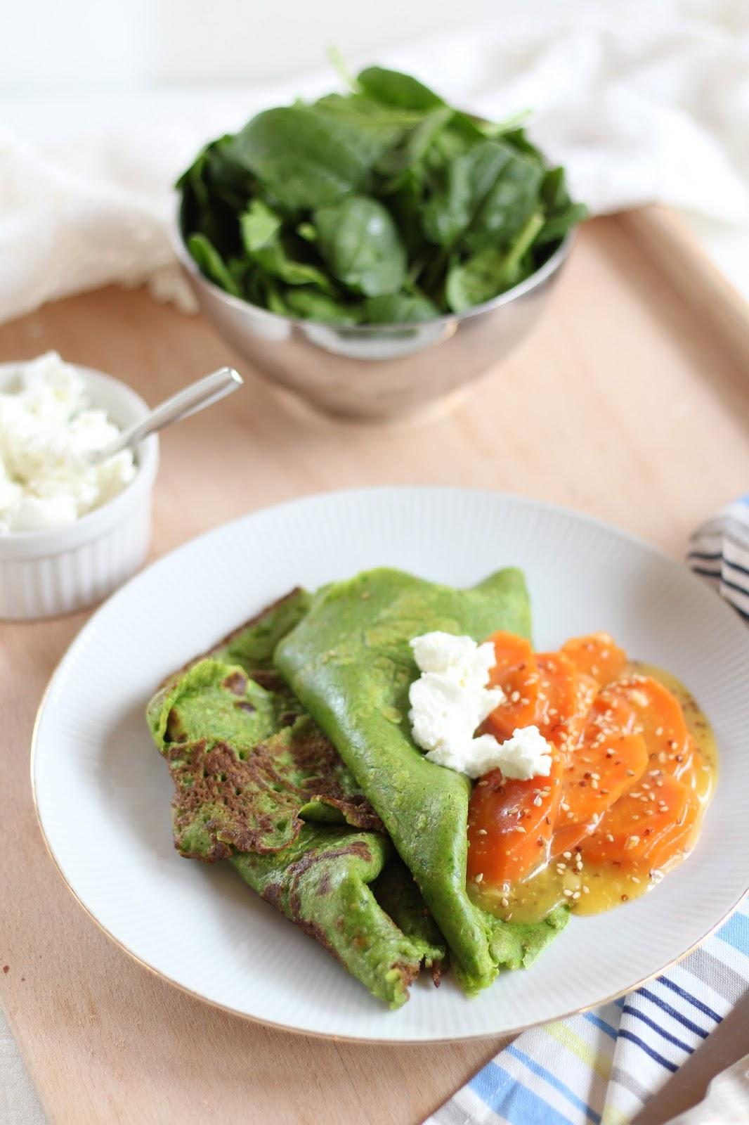 Wochenplan für die : Spinatpfannkuchen mit gedünsteten Möhren