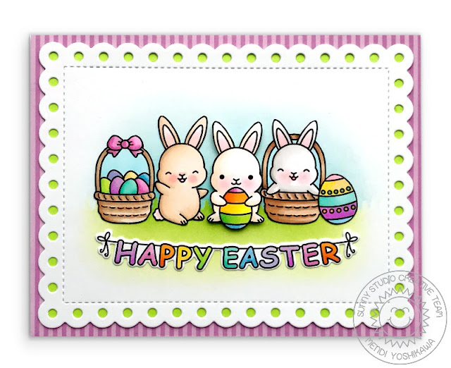 Sunny Studio Stamps: Chubby Bunny Easter Card (using Frilly Frames Polka-Dot dies and Dots & Stripes Pastels Paper)