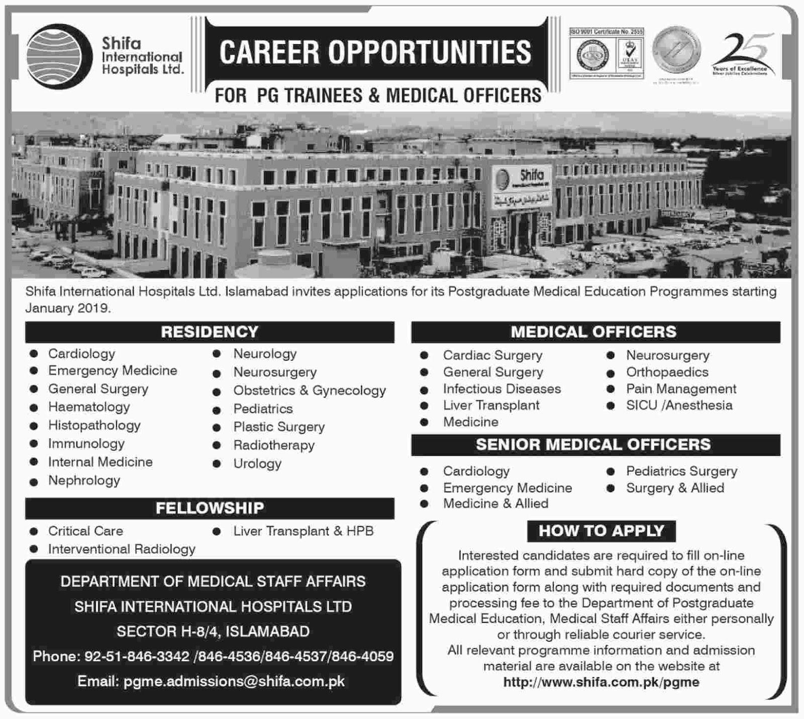 Latest Vacancies Announced in Shifa International Hospital Islamabad - Online Application Form - 10 October 2018 - Naya Pakistan