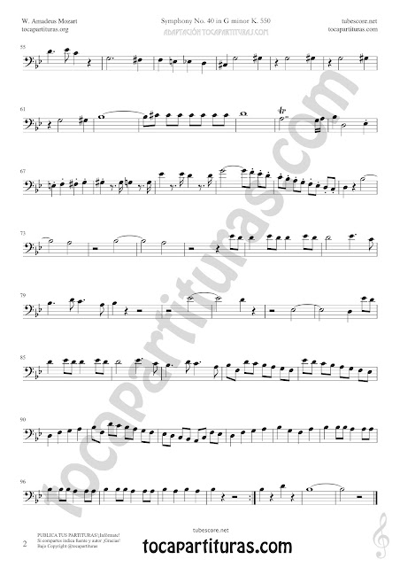 Symphony Nº40 de Mozart Sheet Music for Trombone and Euphonium Music Scores