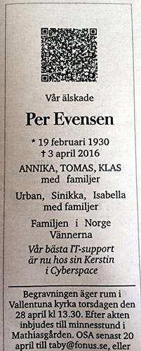 Herr Evensens dödsannons
