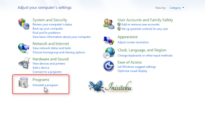 cara terbaik uninstal  program di windows 7