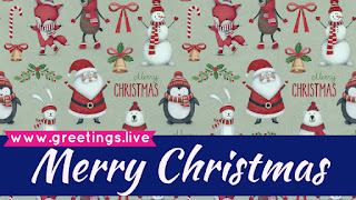 Merry Christmas greetings with Santa penguins