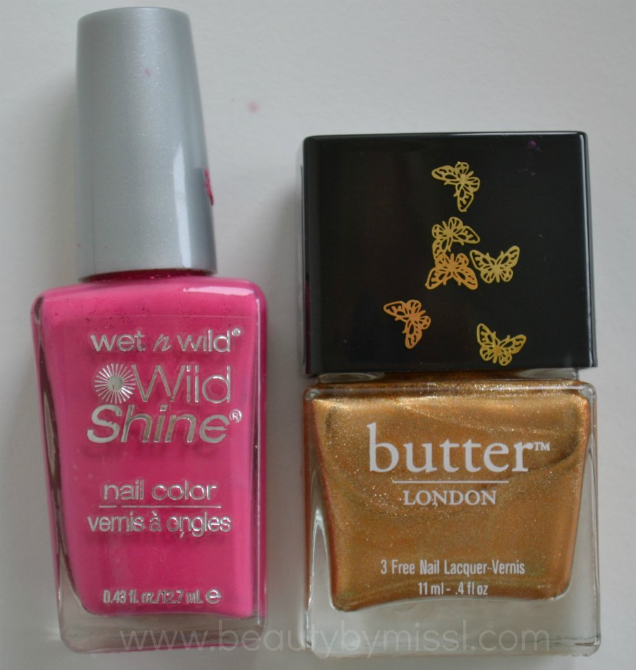 nail polishes, pink, gold,