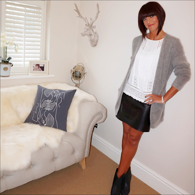 my midlife fashion, olia jewellery, olia jewellery ora star bracelet, olia jewellery ashlee bracelet, ash jess ankle boots, baukjen leather skirt, hm mohair oversized cardigan, mango lace detail blouse