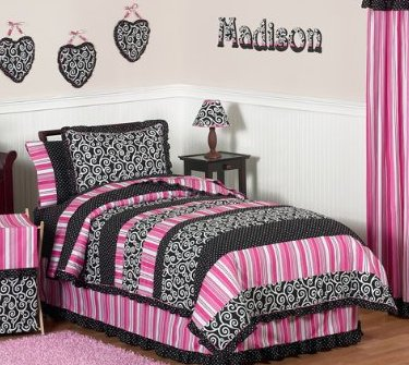 Toddler Bedding Sets Pink Black Madison Girls Kidsteen